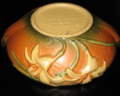 Roseville Pottery Handled Console Bowl Zephyr Lily
