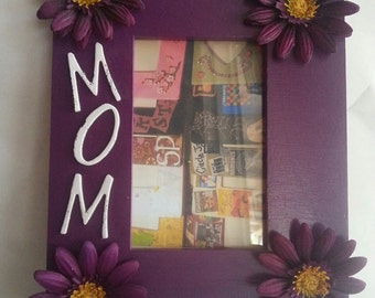 Wooden Picture Frame with Purple Flowers