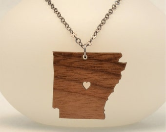 Wooden Arkansas State Necklace, Custom Made Wooden LDR Necklace, Custom Made Going Away Gift, Long Distance Relationship