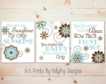 Nursery Wall Decor Girls Room Art Prints Floral You are My Sunshine Aqua Brown Wall Art for Kids Inspirational Song Lyrics Quotes for kids