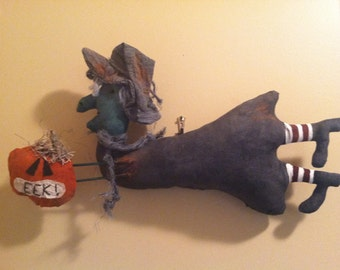 Primitive Country Halloween Flying Witch with Scared Pumpkin