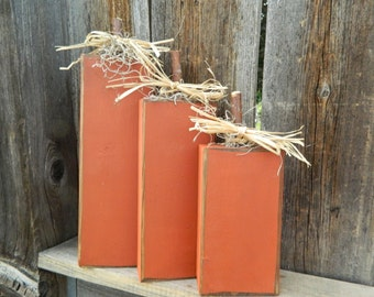 Wood Fall Pumpkin blocks-Seasonal home decor halloween thanksgiving decor