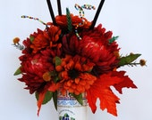 Red Mums and Orange Fall Silk Floral Arrangement