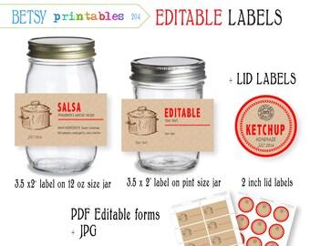 Digital Canning labels,  Labels for canning, Mason Jar lid labels,  PDF editable & JPG -  Instant Download 204