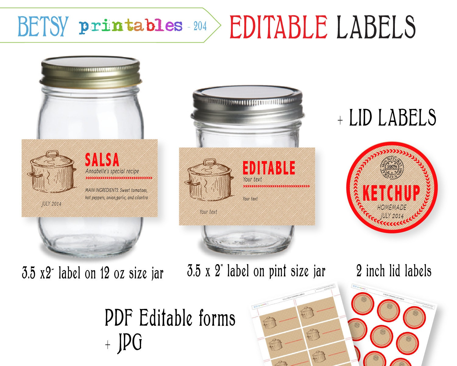 Digital Canning labels Labels for canning Mason Jar lid