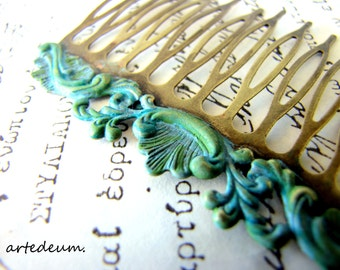Bridal Hair comb blue bronze Antique style metal comb wedding hair vintage Hair comb Verdigris Patina Hair accessory Gift for her