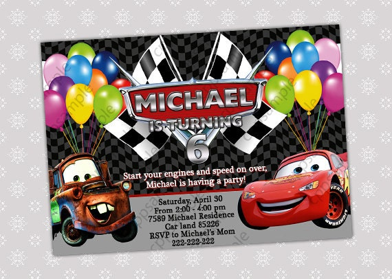 Disney Cars Lightning McQueen and Mater Birthday Party Invitation - Digital File