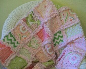 Baby Quilt Coral Pink Green Minky  Hydrangeas Crib Rag Quilt Baby Bedding Crib Bedding Girl