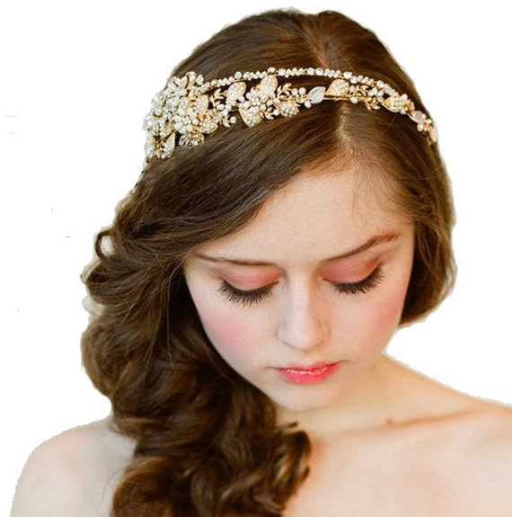 Vintage Crystal Bridal Wedding Ivory Cream Gold Pearl Swarovski Crystal double Headband