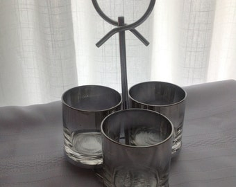 Silver Fade Glass Condiment Holders with Caddy
