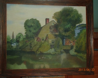 """The Old Homestead - an original 16 x 20"""" oil painting of a secluded lake home."""