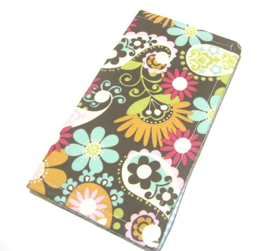 Fabric Checkbook Cover : Fabric checkbook cover wallet coupon holder colorful