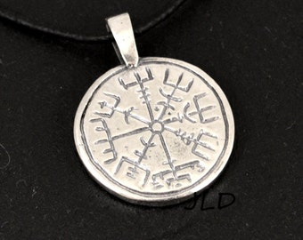 Vegvisir / Aegishjalmur, small round sterling silver or bronze pendant