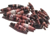 Nature Themed Paper Beads - Set of 18 - Brown, Beige, Pink, Natural, Repurposed, Paper Craft, Destash Supplies (D5)