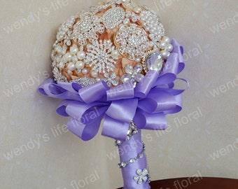 wedding brooch bouquet orange hydrangea