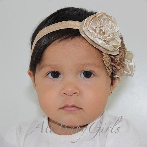 Baptism Headband, Baby Headband, Beige Headband, Christening Headband, Flower Headband, Newborn Headband, Headband Baptism