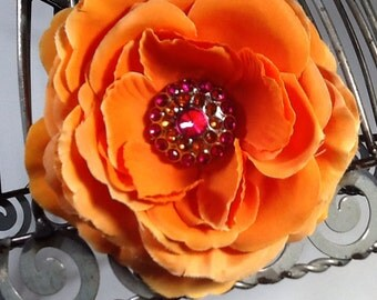 Orange flower hair clip, girls hair flower, orange flower hair clip, ranunculus style flower hair clip hair accessory.