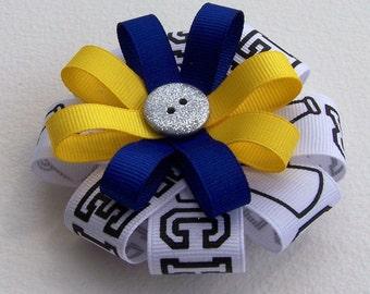 Blue & Yellow Cheer Round Hair Bow