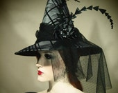 """Couture Witch Hat """"Formal Affair"""" 21"""" One of a Kind"""
