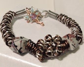 Silver and brown twisted wire coil bracelet, brown and silver beaded bracelet, fairy bracelet