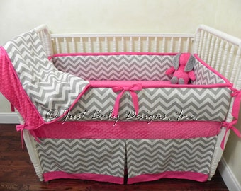 Custom Crib Bedding Abbie - Girl Baby Bedding, Pink and Gray Crib Bedding, Gray Chevron with Hot Pink
