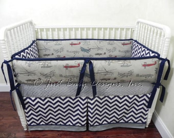 Custom Baby Bedding Set Oliver -  Boy Baby Bedding, Airplane Crib Bedding, Vintage Airplanes With Navy Chevron and Gray