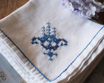 6 French Vintage Hand Cross-stitched Embroidered Napkins/Serviettes
