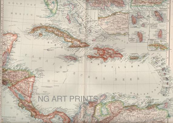 Large West Indies Map, 1900s Antique Map, Cuba, Florida Map, Cuba Map, Caribbean Map, Folio Map, German Map, Perthes Map