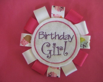 Birthday GIRL badge- Gift tag - Embroidered Birthday Girl Pin - Oversized Special occasion pin