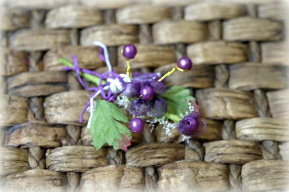 Purple Shabby Chic Flower Embellishment with Pearl Beads FL-087