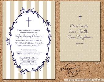 Baptism, Christening, or First Communion Invitation - Tan stripes design - Digital File, Printable, Customized