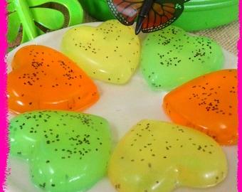 6 Citrus Heart Soaps