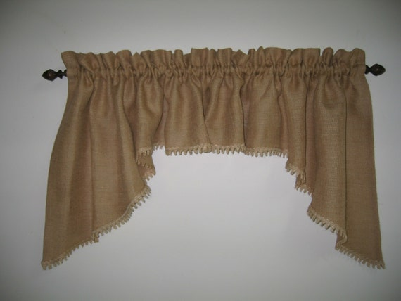 Classic Country Burlap Swag Window Valance By