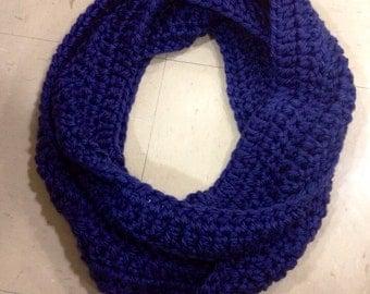 Navy Blue Handmade Crochet Infinity Scarf