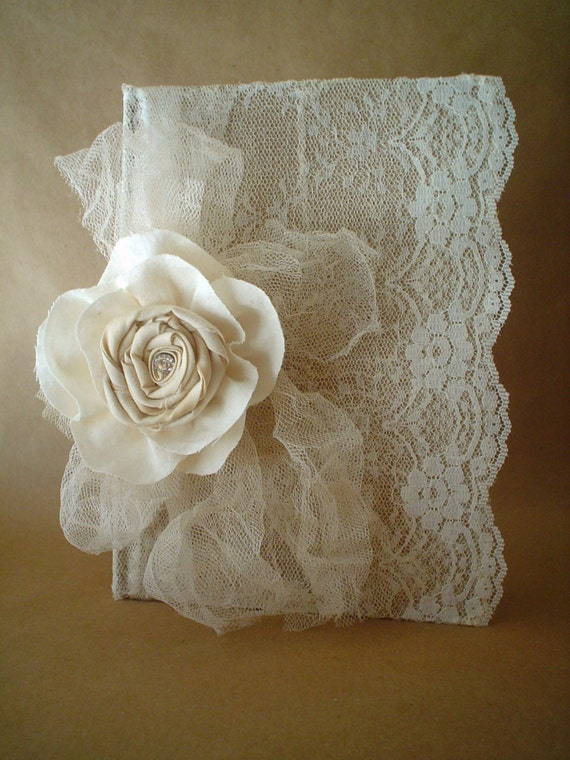 Fabric Cover Guest Book ~ Lace journal diary notebook guest book handmade fabric flower