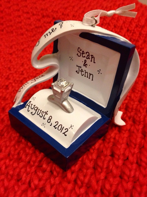 engagement ring personalized christmas ornament by