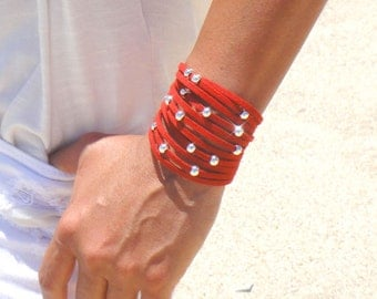 Rock and Roll Suede and Movable Silver Beads Cuff - Available in 10 Different Colors