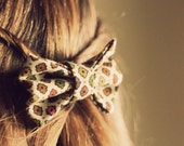 Fondue Party Hair Bow Handmade 60's Brown, Green, Yellow and Orange Bow