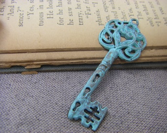 Large antiqued patina skeleton key charm hand patina 1 pc pendant for necklace Victorian Shabby Chic