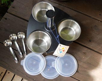 Revolving Server 1976 Foley 10 Piece Set with Bowls, Lids, Ladles. VINTAGE