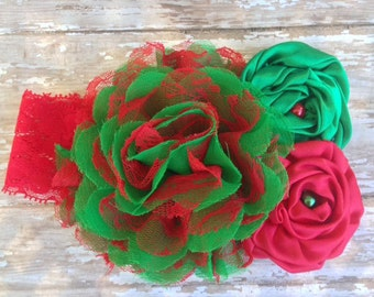 Red and Green Christmas Headband, Infant Headband, Toddler Headband, Couture Headband, Photo Prop