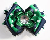 Stacked navy blue and green hair bow, boutique hair bow