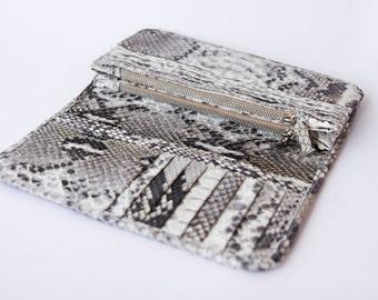 Natural - Genuine Python snakeskin double fold wallet