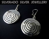 Ancient Greek Spiral Plain Round Dangle Earrings 28 mm Sterling Silver 925
