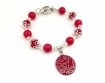 Christmas Bracelet, Glass Pearls