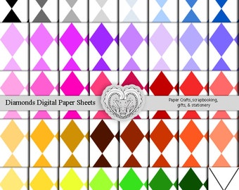 Diamond Patterned Digital Paper Sheets White Background Solid Color