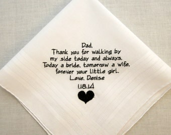 Father of the Bride Wedding Handkerchief Embroidered Gift Personalized by Napa Embroidery
