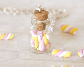 Marshmallow bottle necklace polymer clay kawaii jar cute gift miniature food jewelry