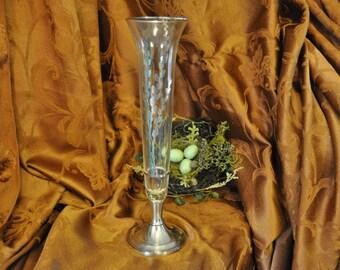 Crystal Vintage Sterling Silver Vase , Antique silver overlay bud vase, sterling base Great for a Gift, #1618