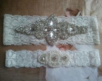 Wedding Garter Set - Pearl and Rhinestone Garter Set on a Ivory Lace Garter Set  - Style G20078